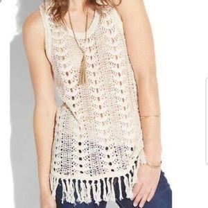Lucky Brand Crochet Tank with Fringe Hem